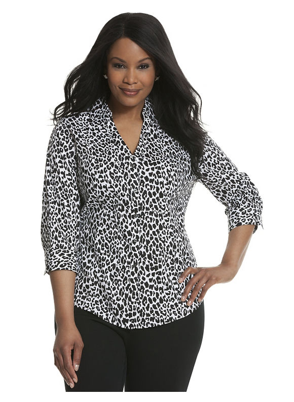 Lane Bryant Plus Size 34 sleeve printed Perfect shirt Size 16, gold - Lane Bryant ~ Trendy Plus Size Clothes