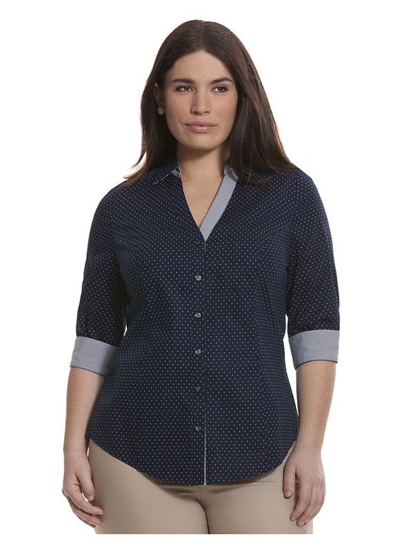 Lane Bryant Plus Size 34 sleeve printed Perfect shirt Size 18, blue