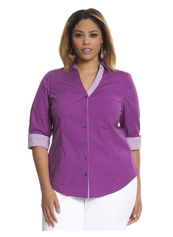 Lane Bryant Plus Size 34 sleeve printed Perfect shirt Size 16, grey - Lane Bryant ~ Trendy Plus Size Clothes