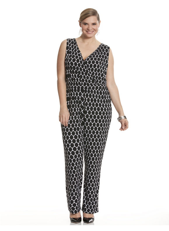 Lane Bryant Plus Size Graphic print jumpsuit Size 26/28, black
