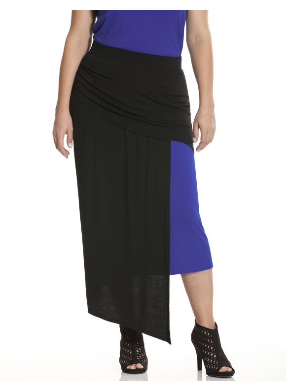 Lane Bryant Plus Size Colorblock knit skirt Size 14/16, blue - Lane Bryant ~ Trendy Plus Size Clothes