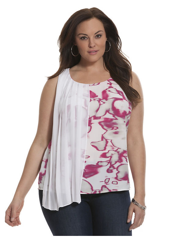 Lane Bryant Plus Size 6th & Lane pleated overlay tank Size 12,14,16,18,20,28, pink - Lane Bryant ~ Trendy Plus Size Clothes