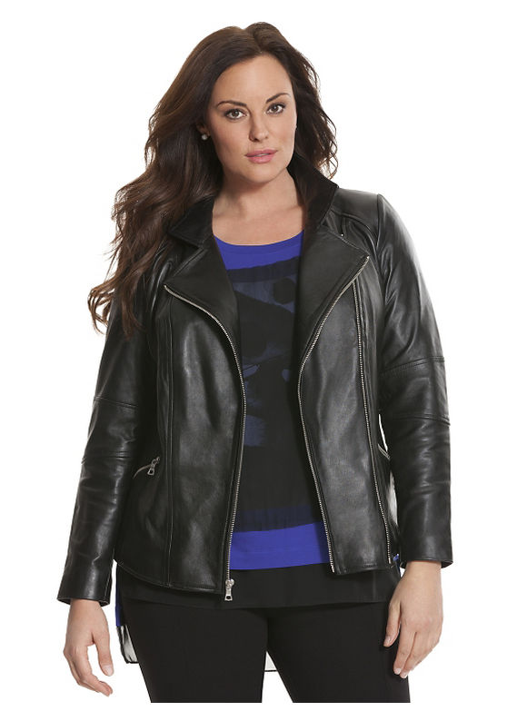 Lane Bryant Plus Size 6th & Lane leather moto jacket Size 12, black