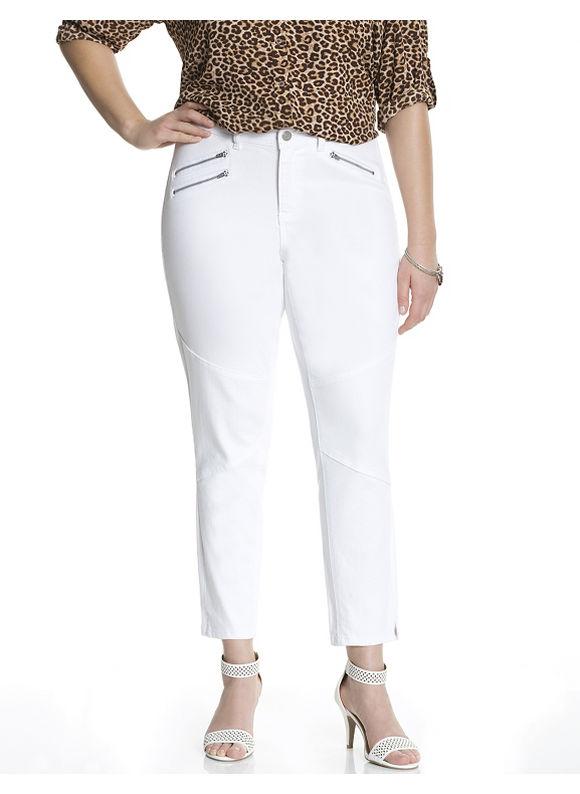 Lane Bryant Plus Size Genius Fit moto zip skinny jean Size 14, white