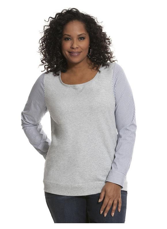 Lane Bryant Plus Size Woven sleeve sweatshirt Size 14/16, gray - Lane Bryant ~ Trendy Plus Size Clothes