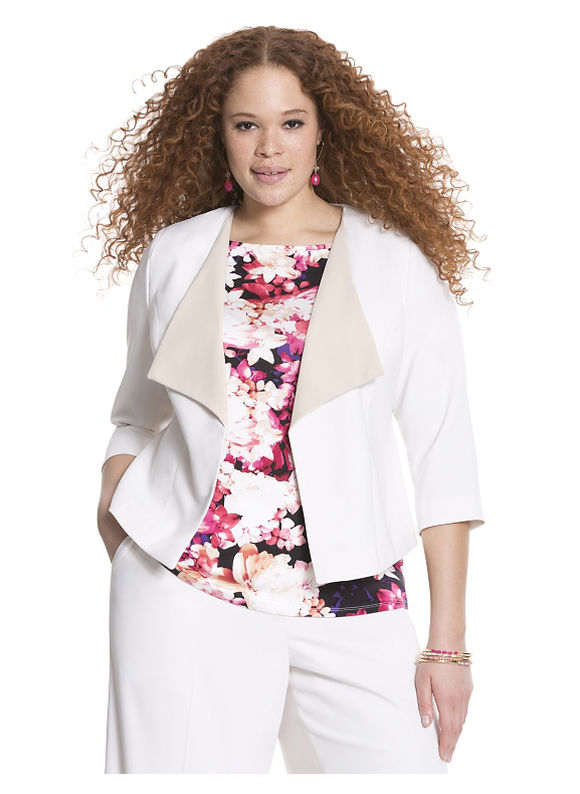 Lane Bryant Plus Size Soft twill draped jacket Size 16, white