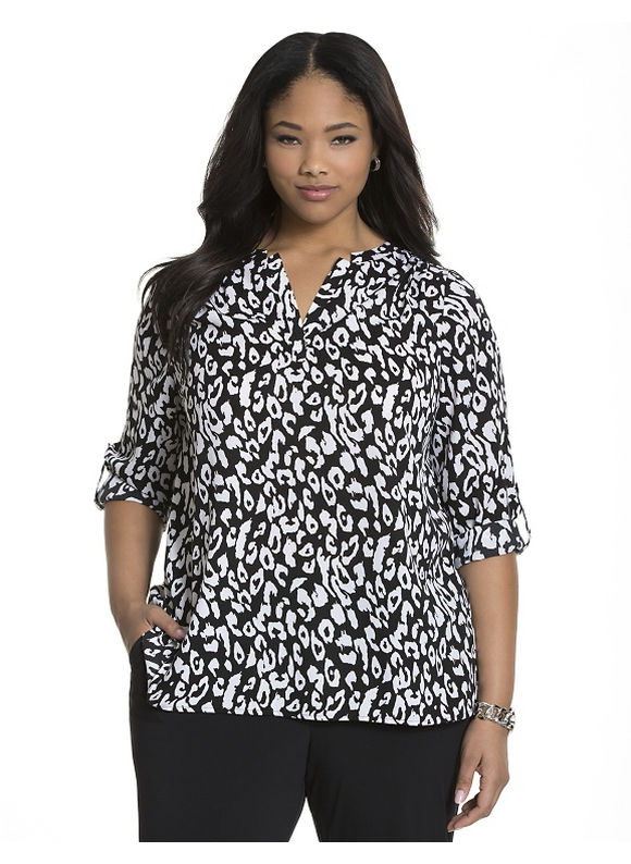 Lane Bryant Plus Size Animal print split back blouse, black