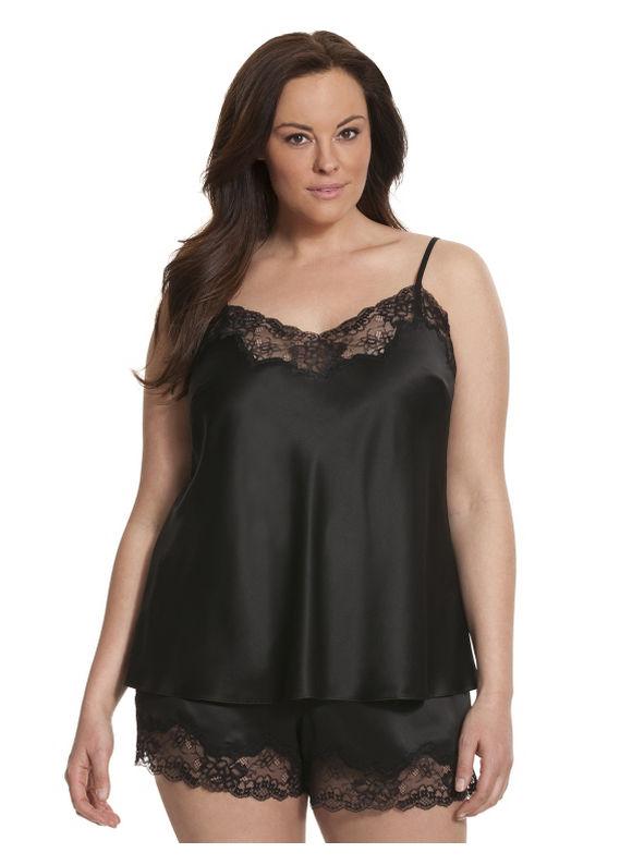 Lane Bryant Plus Size Charmeuse & lace cami PJ set black