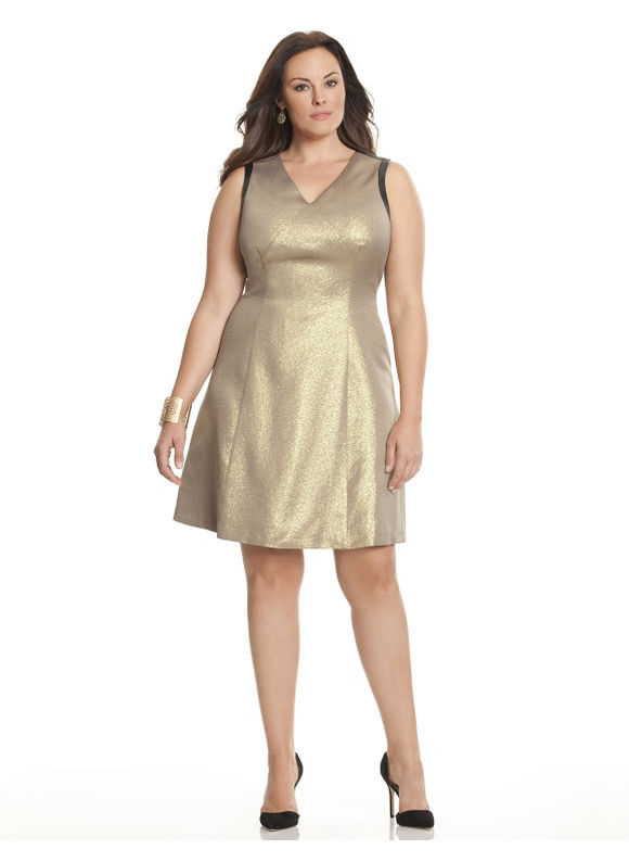 Plus Size shimmer ponte dress by Dknyc Lane Bryant Women's Size 14W, gold - Lane Bryant ~ Trendy Plus Size Clothes