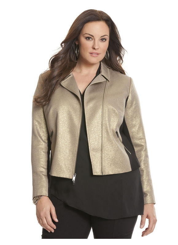 Lane Bryant Plus Size Pieced ponte moto jacket by Dknyc Size 16W, gold - Lane Bryant ~ Trendy Plus Size Clothes