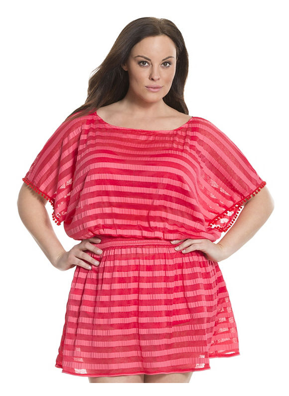 Lane Bryant Plus Size 6th & Lane burnout stripe swim cover-up Size 14/16,18/20, red - Lane Bryant ~ Trendy Plus Size Clothes