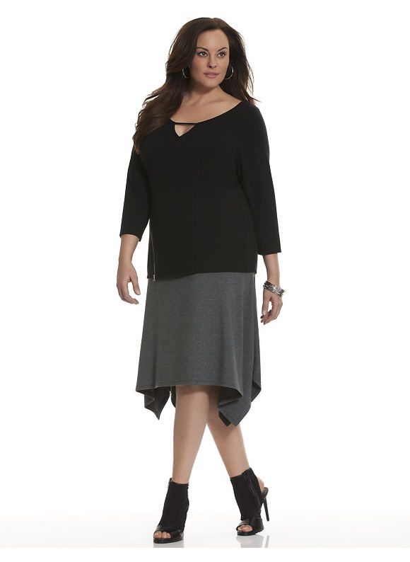Lane Bryant Plus Size 6th & Lane colorblock skirt Size 12,14,16,18,20,22,24,28, gray - Lane Bryant ~ Trendy Plus Size Clothes