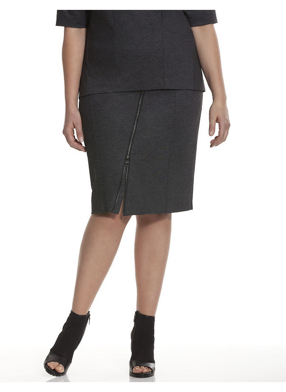 Lane Bryant Plus Size 6th & Lane asymmetric zipper skirt Size 12,14,16,18,20,22,24,26, gray - Lane Bryant ~ Trendy Plus Size Clothes
