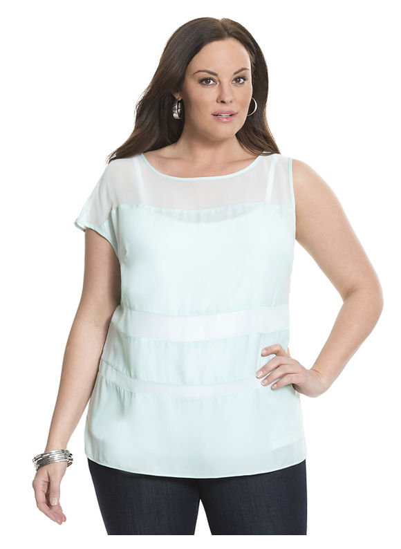 Lane Bryant Plus Size 6th & Lane illusion tee Size 12,14,16,18,20,22,24,26,28, Light blue - Lane Bryant ~ Trendy Plus Size Clothes