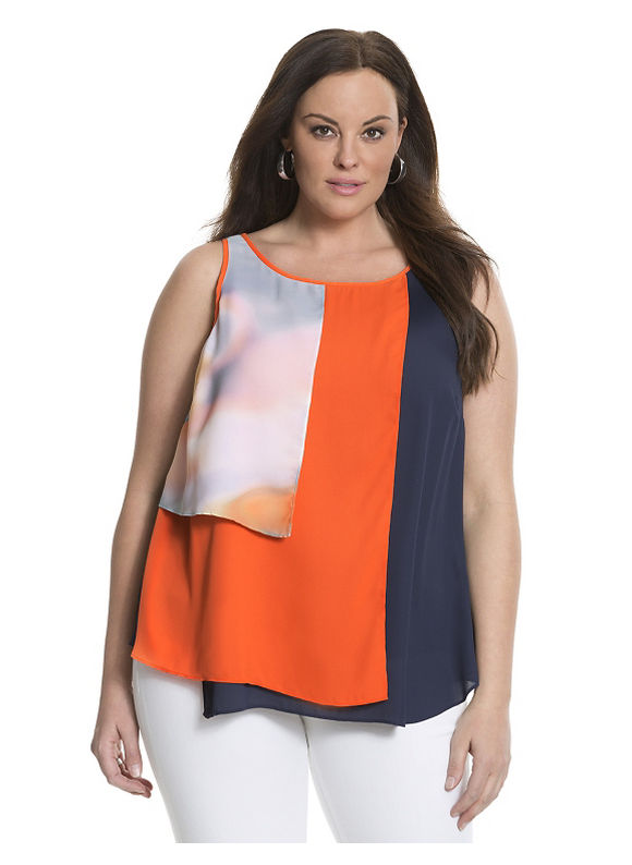 Lane Bryant Plus Size 6th & Lane colorblock panel tank Size 28, blue