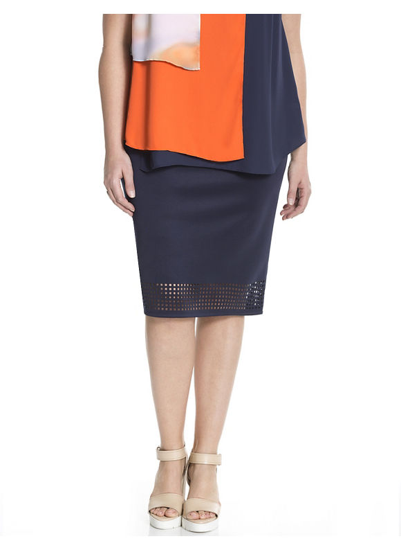 Lane Bryant Plus Size 6th & Lane laser cut pencil skirt Size 12, blue - Lane Bryant ~ Trendy Plus Size Clothes