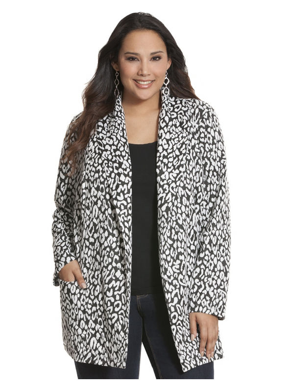 Lane Bryant Plus Size Animal print jacket Size 22/24, black