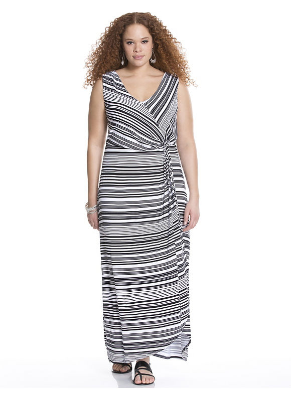 Plus Size Twist front striped maxi dress Lane Bryant Women's Size 14/16, black