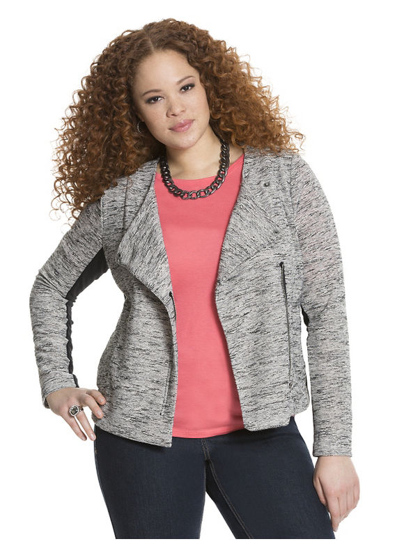 Lane Bryant Plus Size Textured moto jacket, gray