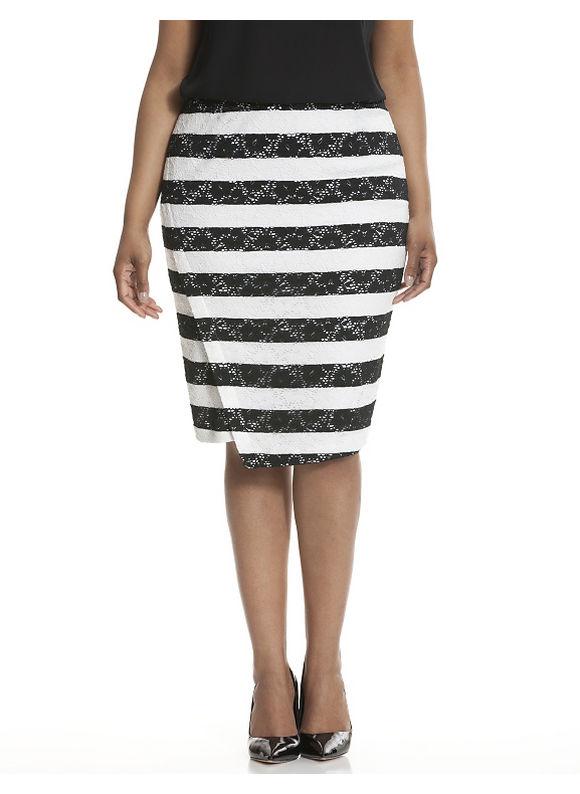 Lane Bryant Plus Size Striped lace pencil skirt Size 18, white