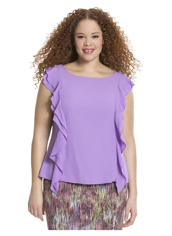Lane Bryant Plus Size Ruffled shell by Isabel Toledo Size 18, baby pink - Lane Bryant ~ Trendy Plus Size Clothes