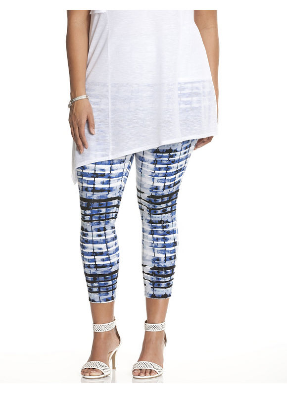 Lane Bryant Plus Size Printed crop legging by Lysse Size 1X, blue - Lane Bryant ~ Trendy Plus Size Clothes