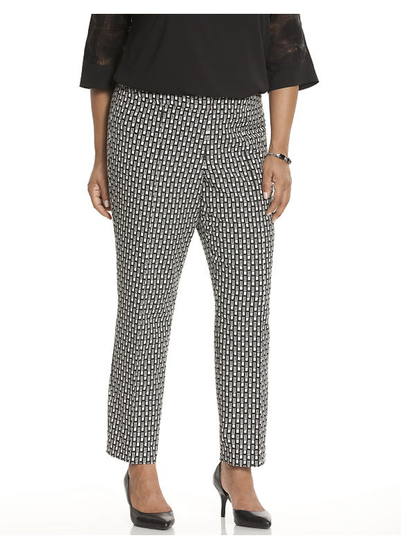 Lane Bryant Plus Size Dot dash slim pant by Lela Rose Size 16, black