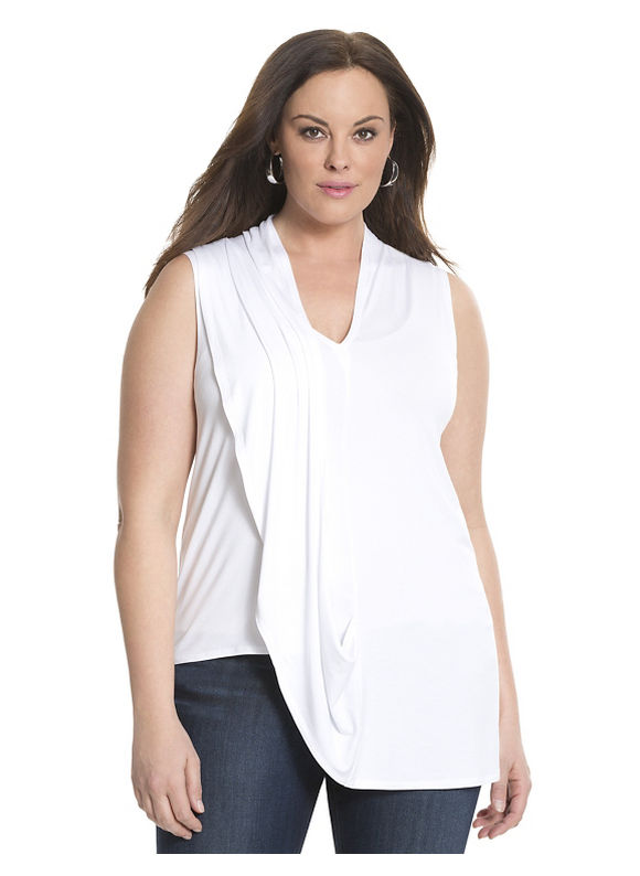 Lane Bryant Plus Size 6th & Lane draped shoulder top Size 12,14/16,18/20,22/24,26/28, white - Lane Bryant ~ Trendy Plus Size Clothes