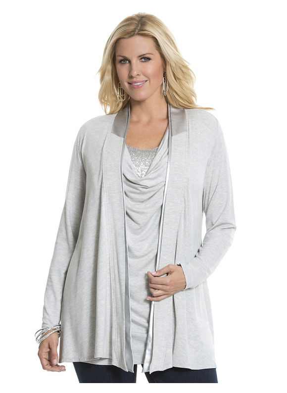 Lane Bryant Plus Size Canyon metallic trim overpiece by Lysse Size 1X, gray - Lane Bryant ~ Trendy Plus Size Clothes