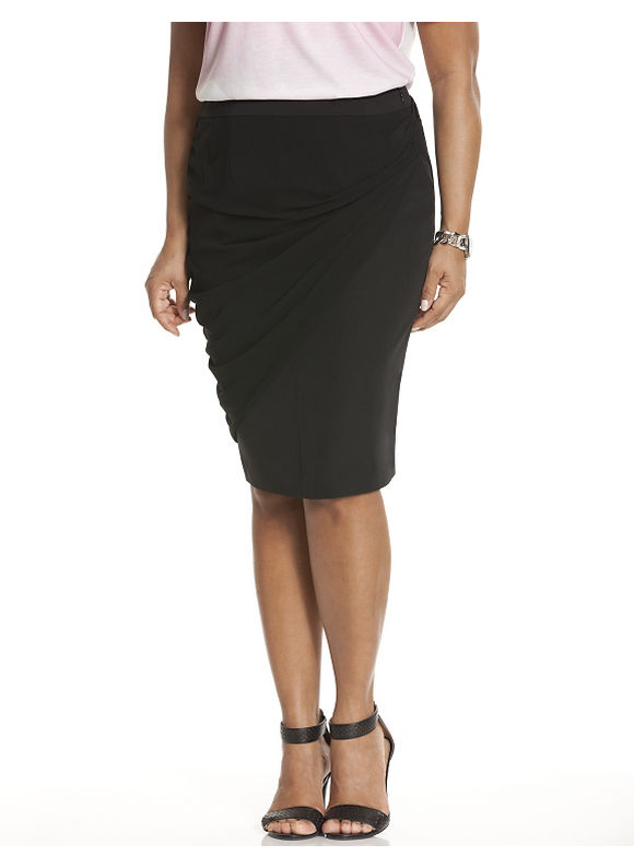 Lane Bryant Plus Size Draped overlay pencil skirt by Lela Rose Size 14, black