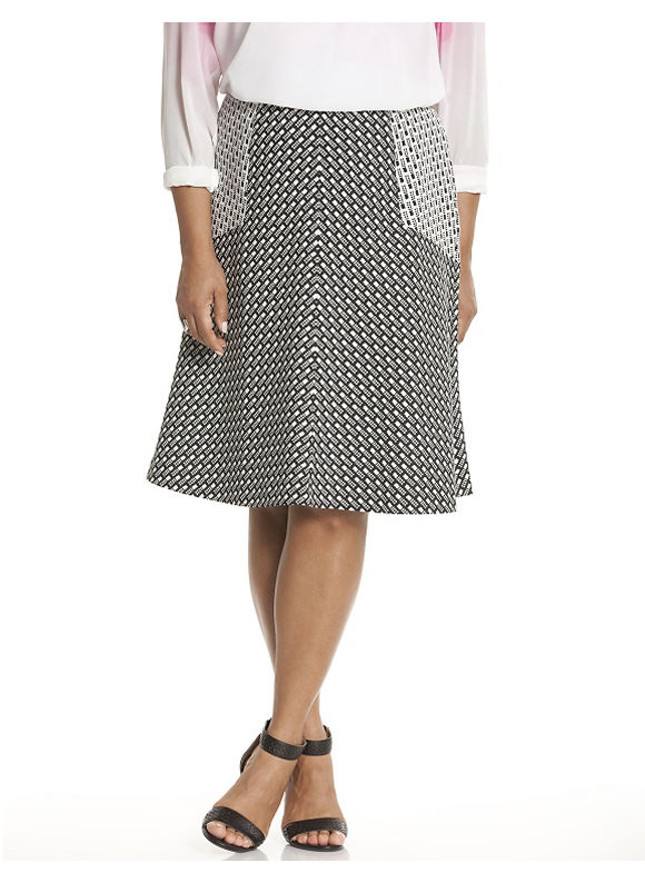 Lane Bryant Plus Size Dot dash skater skirt by Lela Rose Size 12, black