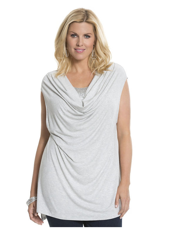 Lane Bryant Plus Size Sequin cowl tee by Lysse Size 1X, gray - Lane Bryant ~ Trendy Plus Size Clothes