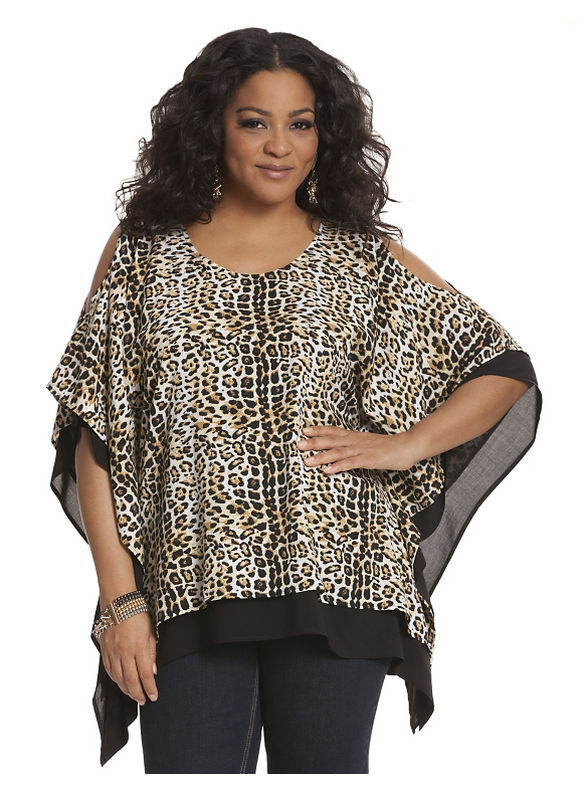 Lane Bryant Plus Size Animal print cold shoulder drama top, gold