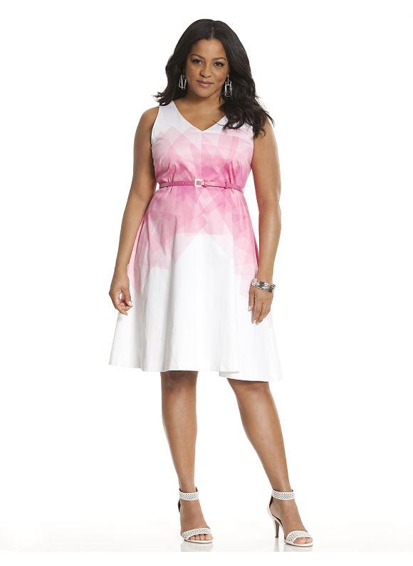 Plus Size Graphic print sateen dress by Lela Rose Lane Bryant Women's Size 12, white - Lane Bryant ~ Trendy Plus Size Clothes