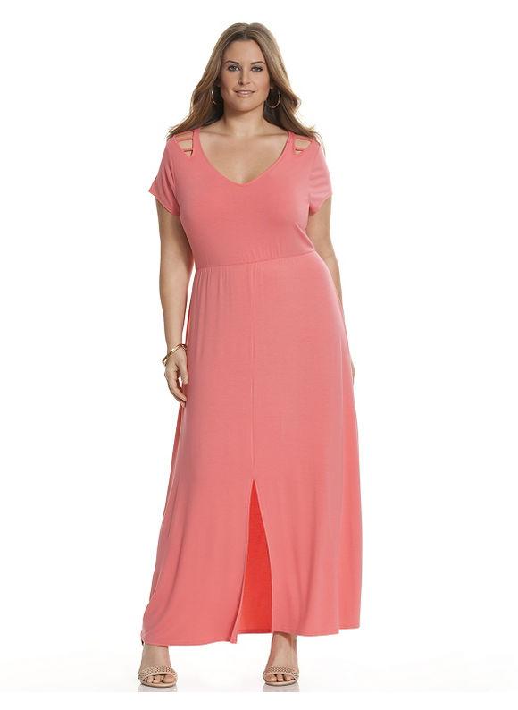 Plus Size Lattice detail maxi dress Lane Bryant Women's Size 14/16, Coral