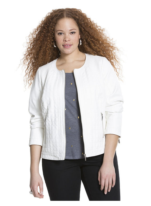 Lane Bryant Plus Size Quilted faux leather jacket Size 22/24, white