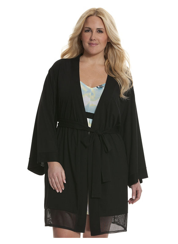 Lane Bryant Plus Size Tru to You perforated robe, black
