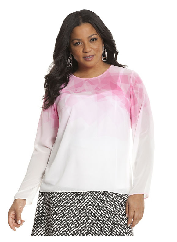 Lane Bryant Plus Size Pink print blouse by Lela Rose Size 22, white - Lane Bryant ~ Trendy Plus Size Clothes
