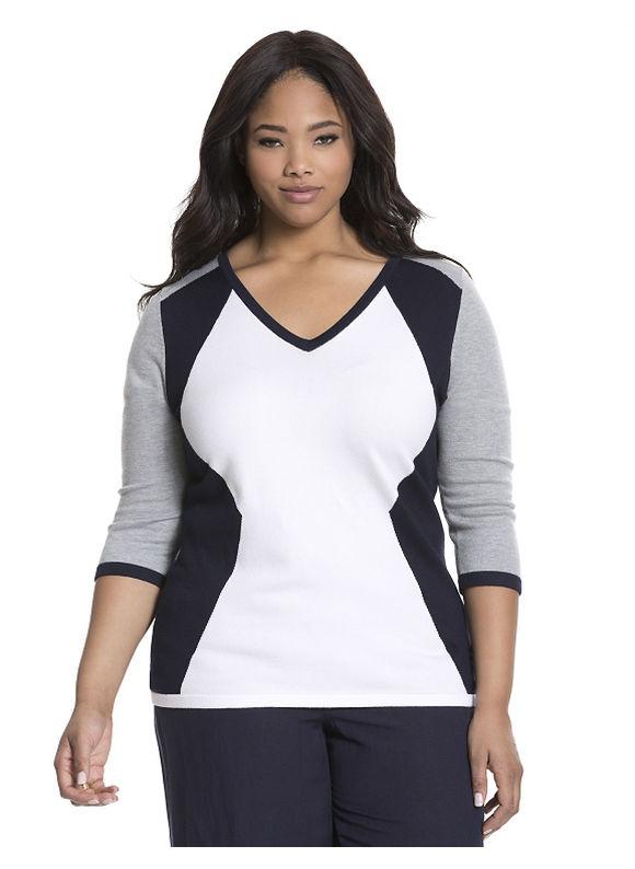 Lane Bryant Plus Size Colorblock sweater Size 14/16, blue