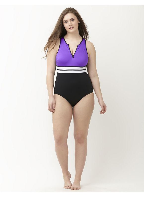 Lane Bryant Plus Size Colorblock lap suit Size 16, Acai - Lane Bryant ~ Trendy Plus Size Clothes