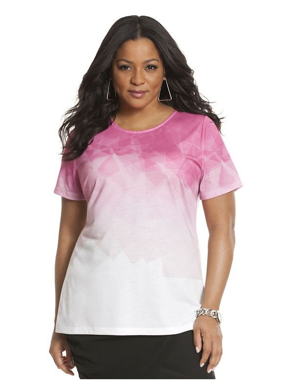 Lane Bryant Plus Size print graphic tee by Lela Rose Size 26/28, Pink