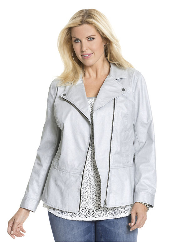 Lane Bryant Plus Size Coated moto jacket by Dkny Jeans, silver