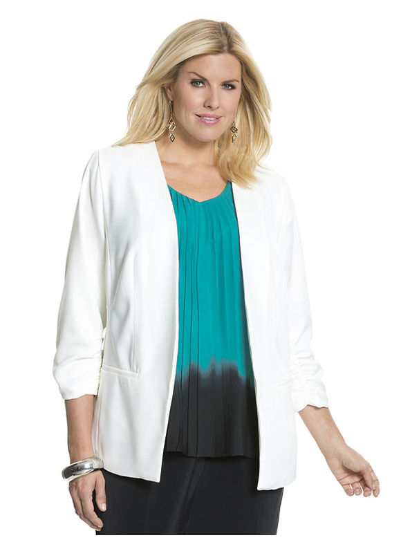 Lane Bryant Plus Size Ruched crepe blazer by Dknyc Size 14W, white - Lane Bryant ~ Trendy Plus Size Clothes