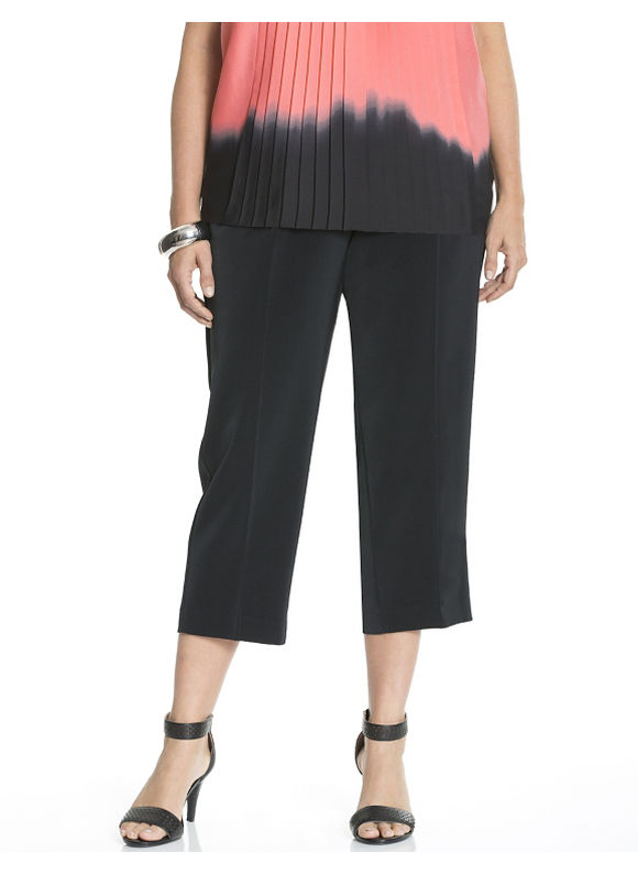 Lane Bryant Plus Size Crepe wide leg crop by Dknyc Size 14W,16W,18W,20W,22W,24W, black
