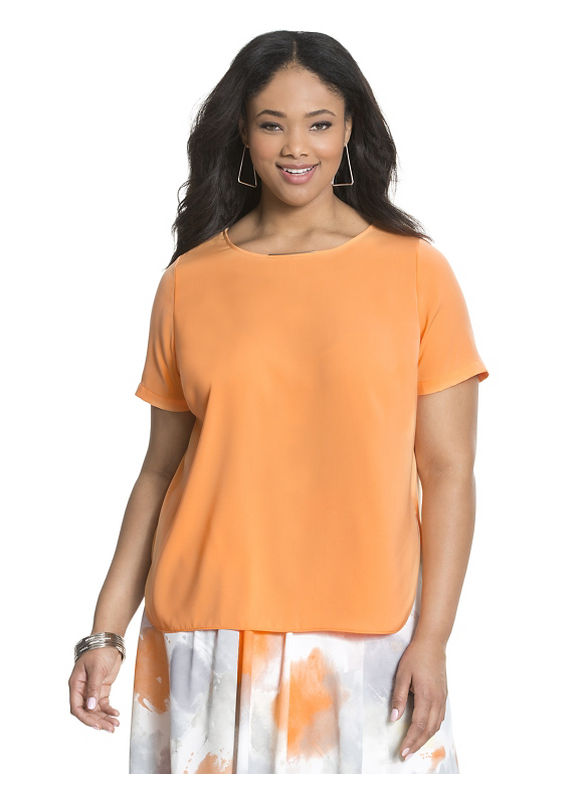 Lane Bryant Plus Size Crepe high-low top by Dknyc Size 1X, Coral - Lane Bryant ~ Trendy Plus Size Clothes
