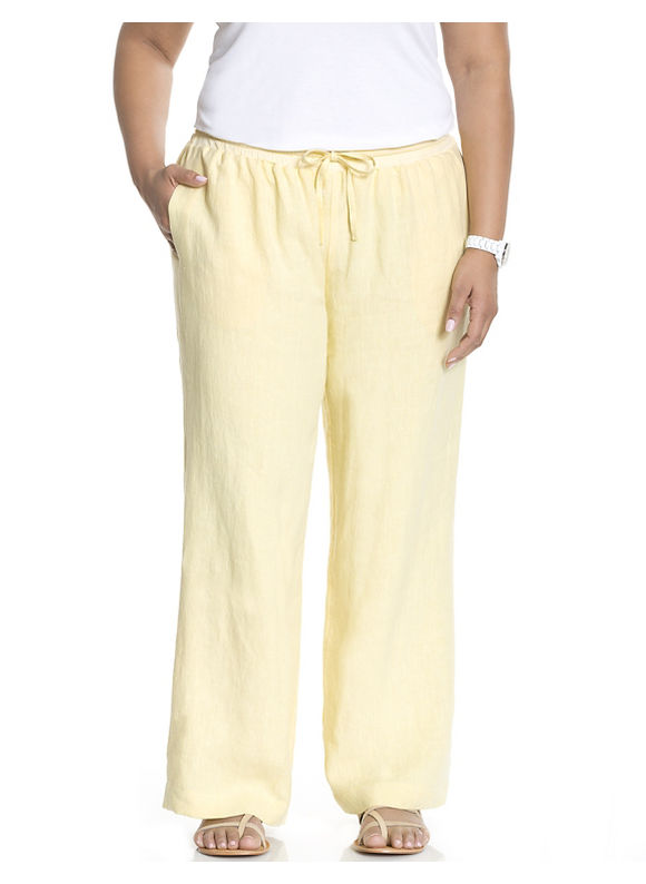 Lane Bryant Plus Size Linen wide leg pant by Dknyc Size 2X, yellow - Lane Bryant ~ Trendy Plus Size Clothes
