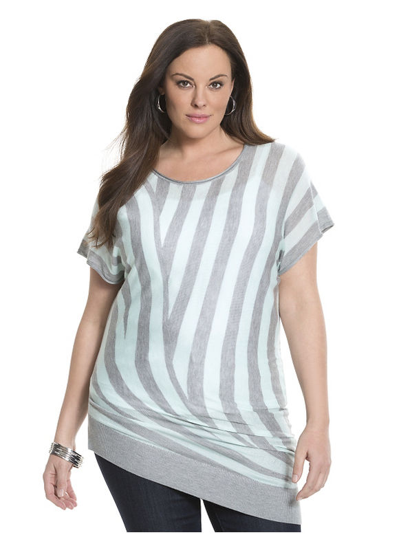 Lane Bryant Plus Size 6th & Lane asymmetric striped sweater Size 12, blue - Lane Bryant ~ Trendy Plus Size Clothes