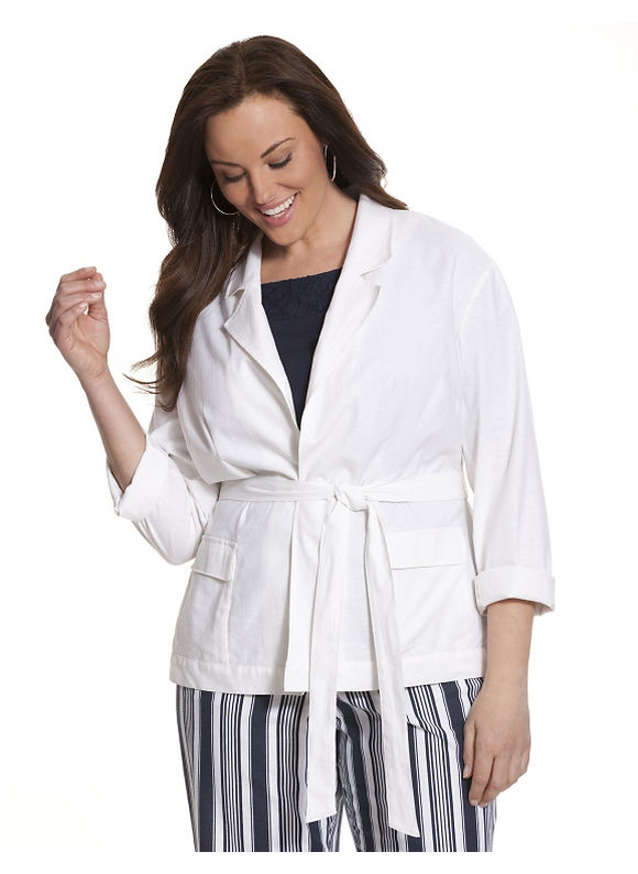 Lane Bryant Plus Size Stretch linen belted jacket Size 14,16,18,20,22,24,26,28, white