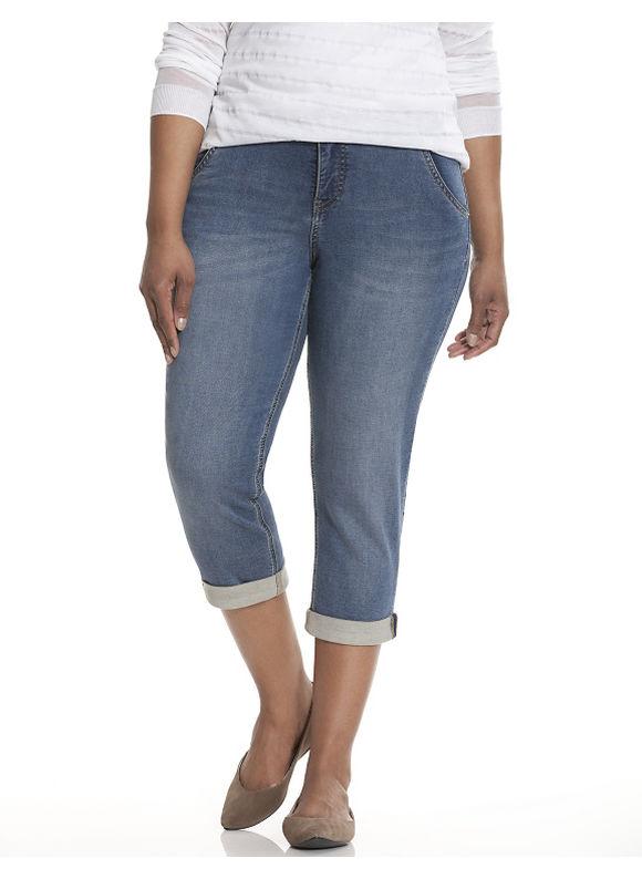 Plus Size Knit denim capri Lane Bryant Women's, blue