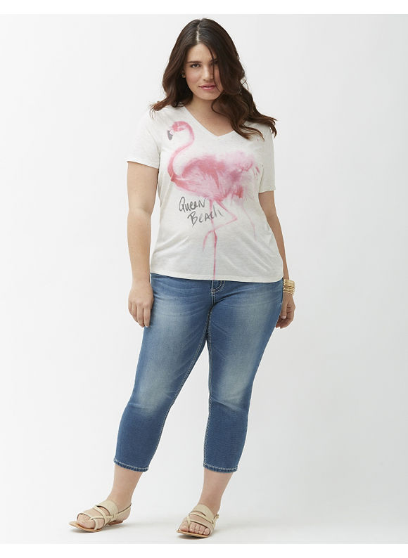Lane Bryant Plus Size Knit denim capri by Seven7 Size 16, denim blue